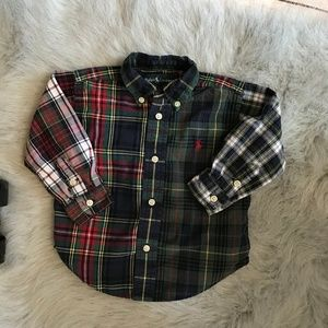 Ralph Lauren Mixed Plaid Button Down Shirt 18 mo